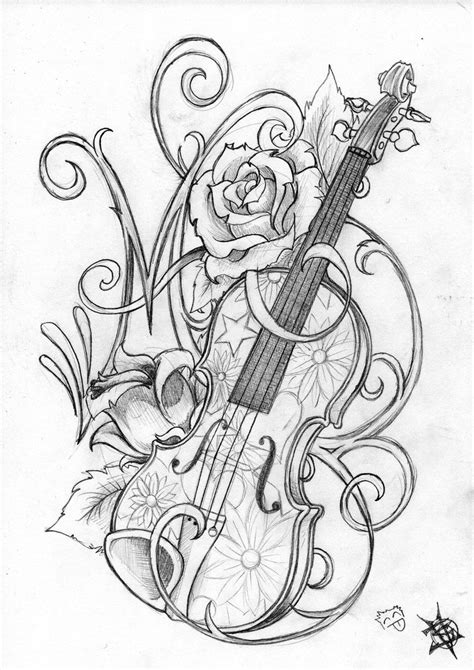 simple violin tattoo violin and roses by travthemad on deviantart