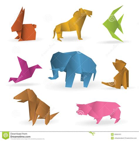 Origami Farm Animals - origami animals stock vector image of bird model