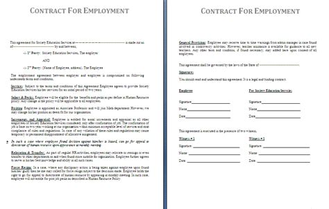 work contract templates employment contract sle free free printable documents