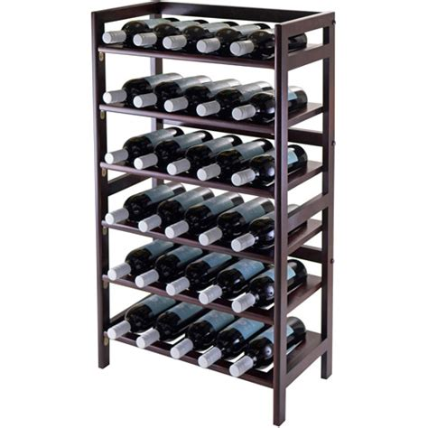 30 Bottle Wine Rack silvi 30 bottle wine rack antique walnut walmart