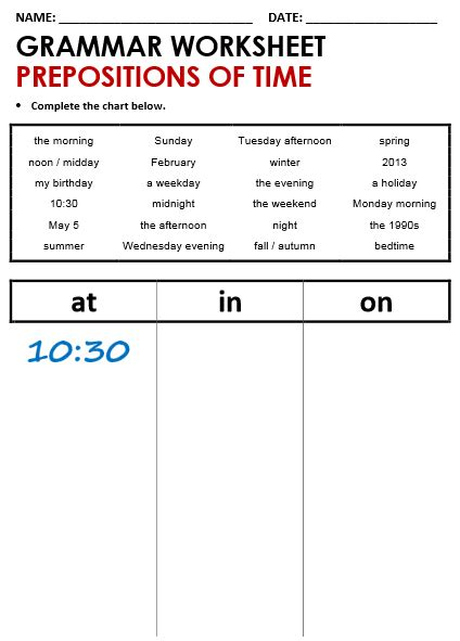 time worksheets 187 prepositions of time worksheets for