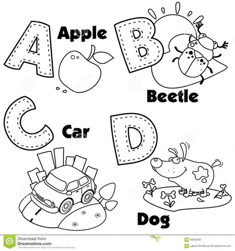alphabet a b c coloring book books alphabet and the letters a b c and d stock