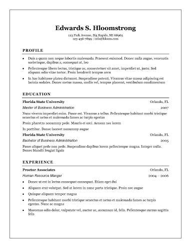 Free Resume Templates For Word The Grid System Traditional Resume Template