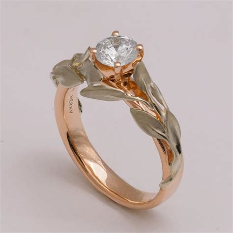 two tone leaves engagement ring 14k white and gold
