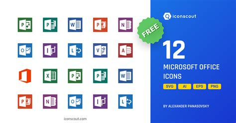 microsoft office free icon pack 12 flat icons iconscout