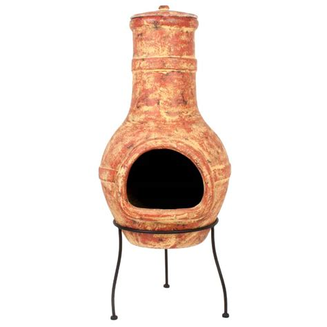 Clay Chiminea Sale la hacienda banded clay chiminea large 94cm on sale fast delivery greenfingers