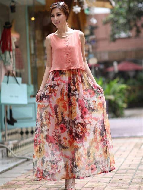 flower pattern gowns fashion women flower pattern fake two pieces maxi dress