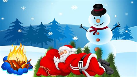 santa claus resting bed  pine twigs fire snowman desktop hd wallpaper  wallpaperscom