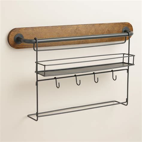 kitchen storage rack modular kitchen wall storage spice rack with cup hooks