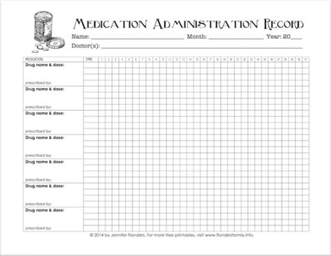 Keeping Track Of Medications Free Printable Flanders Family Homelife Medication Chart Template For Patients