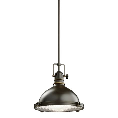 pendant light kichler 1 light industrial pendant 2665oz olde bronze