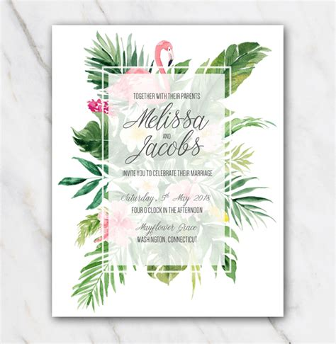 Tropical Wedding Invitations tropical flamingo wedding invitation template in word for