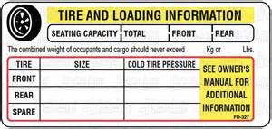 Vehicle Tire Information Placard Deco Direct Fd 327 Motorized Vehicle Tire Placard