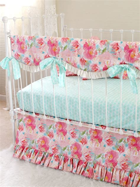 Pastel Crib Bedding Sets Pastel Peonies Floral Bumperless Crib Bedding Lottie Da Baby