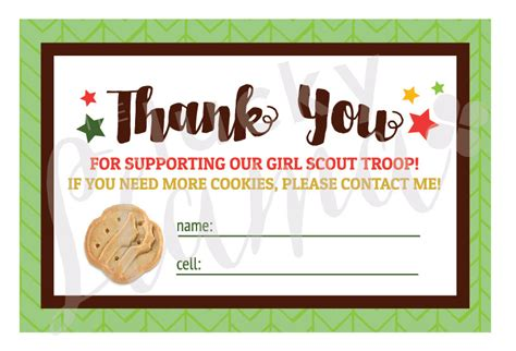 printable thank you cards girl scout cookies 2018 girl scout cookie thank you cards printable