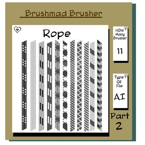 rope pattern brush and ready made rope elements illustrator shoe lace rope brushers part 2 by brushmad on