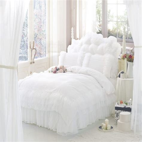 Solid Color Princess Bedding Sets Luxury 4pc Snow White Snow White Bed Set