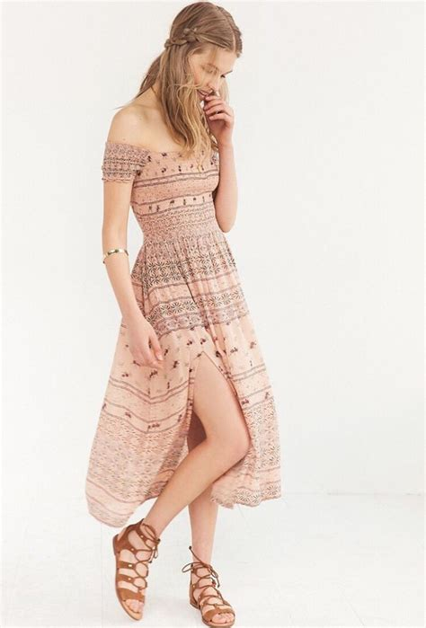 Outfitters Picnic Shirt Dresses by Kimchi Blue Picnic Smocked The Shoulder Midi Dress