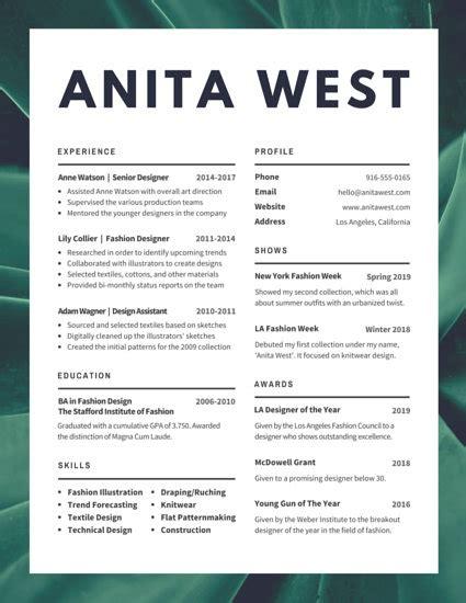 resume for designer of fashion