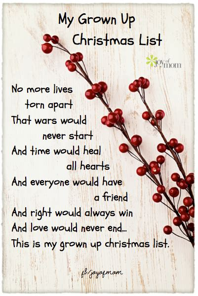 grown  christmas list posted  fb  joy  mom christmas poems christmas messages