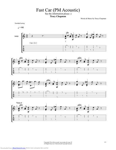 tutorial guitar fast car fast car acoustic guitar pro tab by tracy chapman