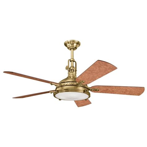 kichler burnished brass ceiling fan with light kit