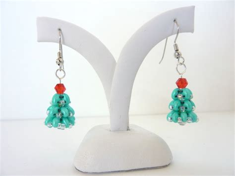 christmas tree earring pattern free beading pattern for christmas tree earrings