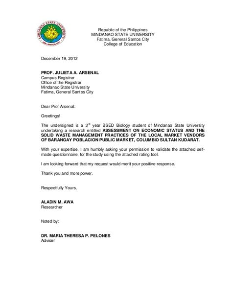 Endorsement Letter Barangay Captain Validation Letter For Thesis