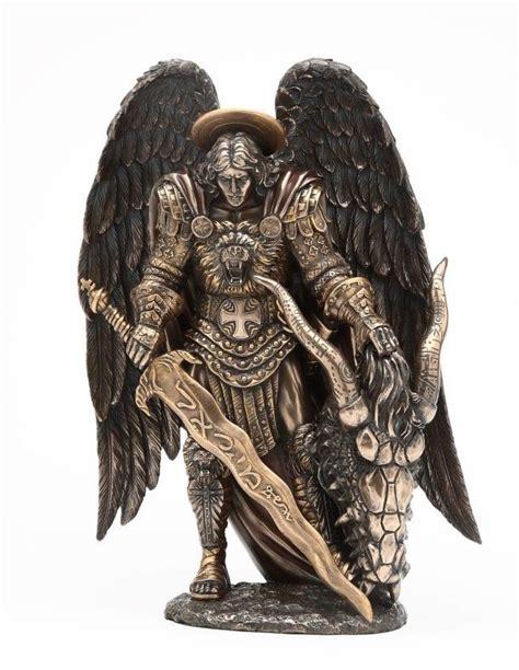 archangel saint michael large figurine statue bronzelike