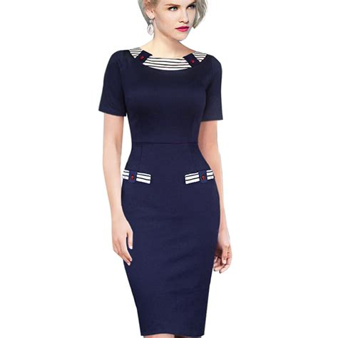 Blue Stripe S M L Dress 44985 casual summer patchwork dress knee length contrast navy