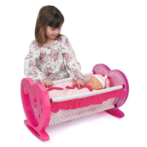 Dolls Crib Uk by Dolls Pink Rocking Cradle Crib Cot Bed With Bedding