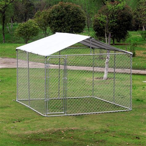 10x20 kennel pawhut 10 x 10 x 6 outdoor chain link box kennel house with cover silver