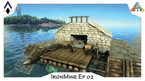 how to make a boat base in ark ark ironmine ep02 pve raft base the nest a small fully