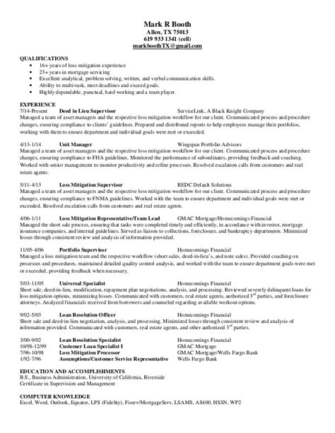 Mitigation Specialist Sle Resume by Loss Mitigation Resume Best Resume Gallery