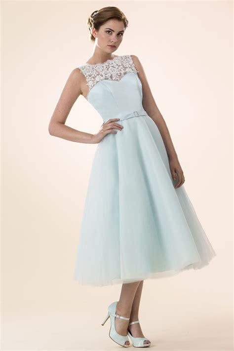 light blue tea length dress light blue tulle illusion neck sleeveless tea length