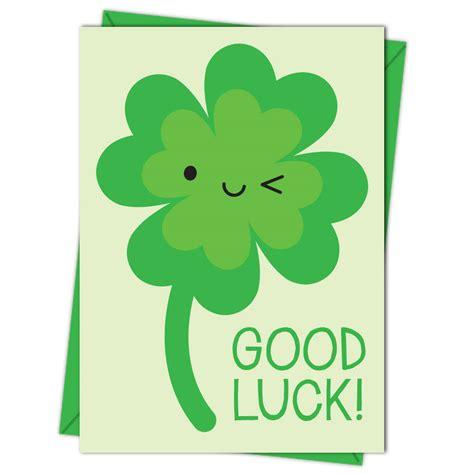 gud luck kawaii lucky four leaf clover good luck card by asking