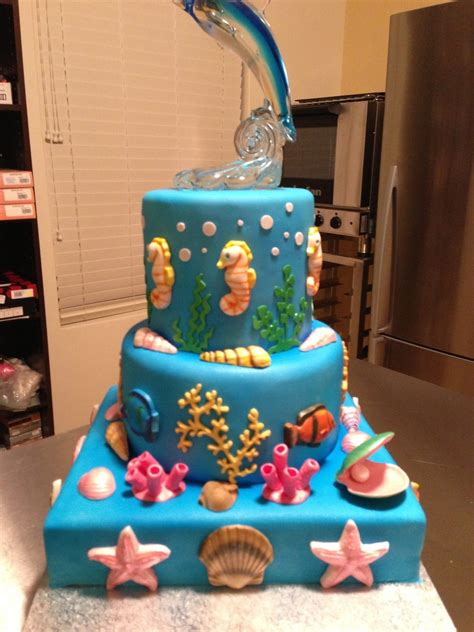 birthday cake for birthday cake for my 7 year gum paste seahorses shells