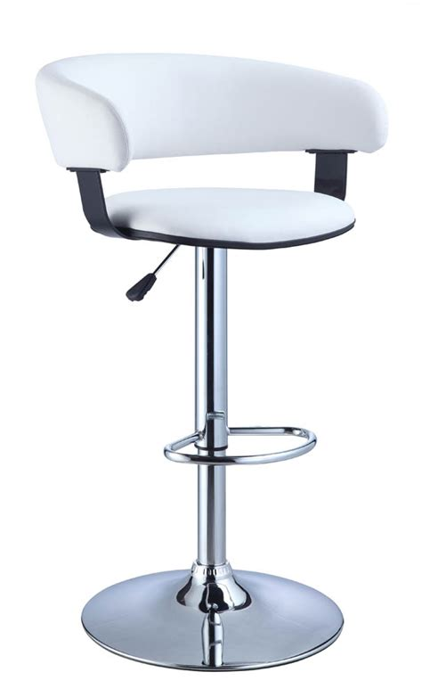 White Leather And Chrome Bar Stools by Adjustable Height Bar Stool White Faux Leather Barrel
