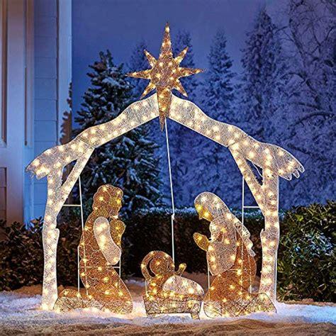 brylanehome crystal splendor outdoor nativity scene white