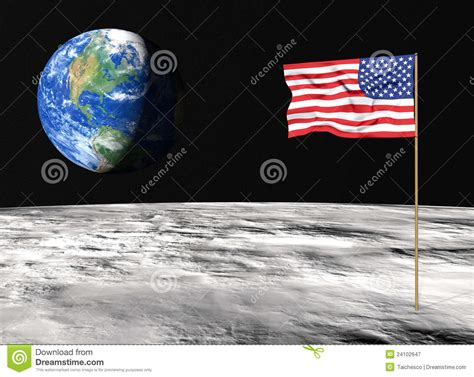 american flag on the moon stock illustration image of