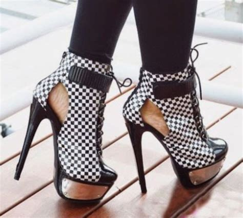 high heels black and white shoes high heels black heels high heels checkered