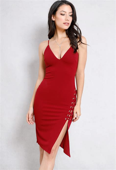 Slit Side Bodycon Dress lace up slit side bodycon dress shop bodycon dresses at