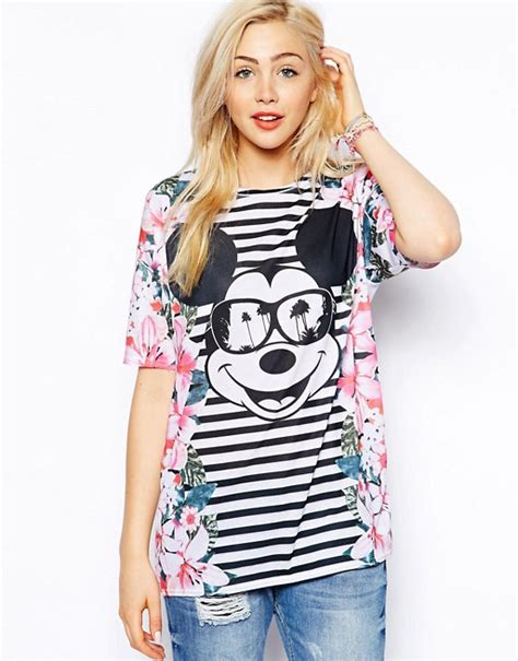 Mouse Tunik asos asos tunic with mickey mouse floral print