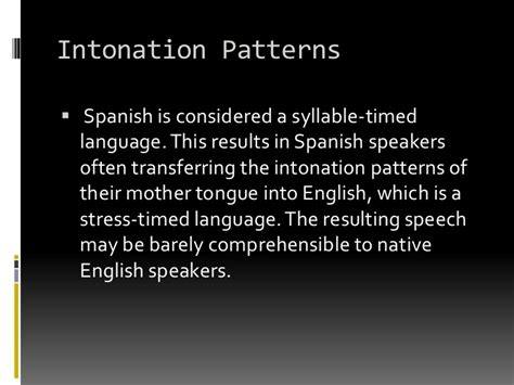 intonation pattern in spanish spanish and english language comparison