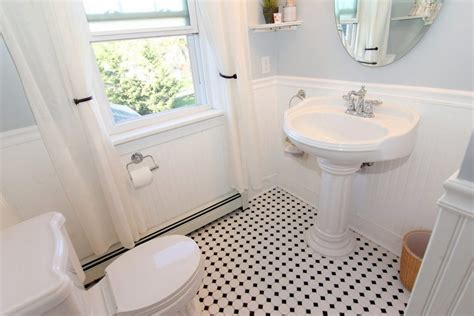 Traditional Pedestal Sink Half Wall Beadboard Bathroom Traditional With Leaded Glass