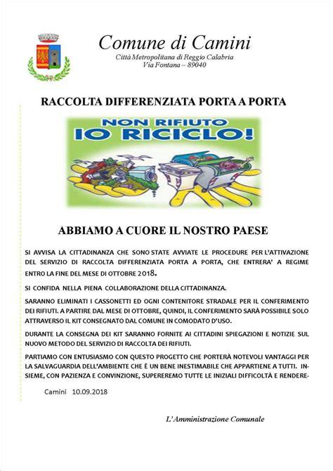 Camini Rc by Camini Rc Al Via La Raccolta Differenziata