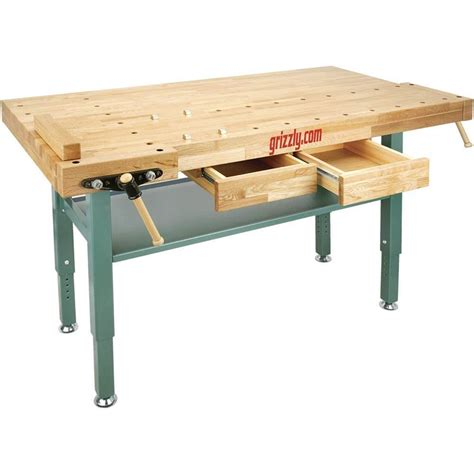 oak work bench t10157 grizzly heavy duty oak workbench with steel legs ebay