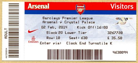 arsenal game tickets arsenal v crystal palace match ticket 2014 match