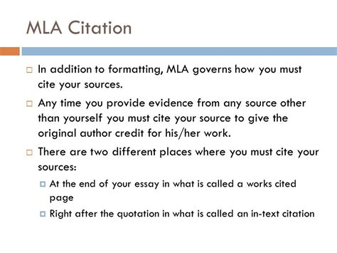 Photo Credit Mla Format Mla Formatting And Citation Ppt