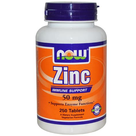 supplement j for niw now foods zinc 50 mg 250 tablets iherb